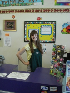 Kyersten looking cute in her apron