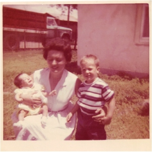 One of my first photos, 1966 with my mother and older brother, Lee.