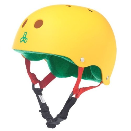 Triple 8 Brainsaver Rubber helmet with Liner in Rasta Yellow