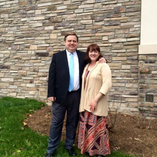 My husband, Terry and I, standing outside our church on Easter 2015.